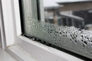 Water condensation on windows during winter