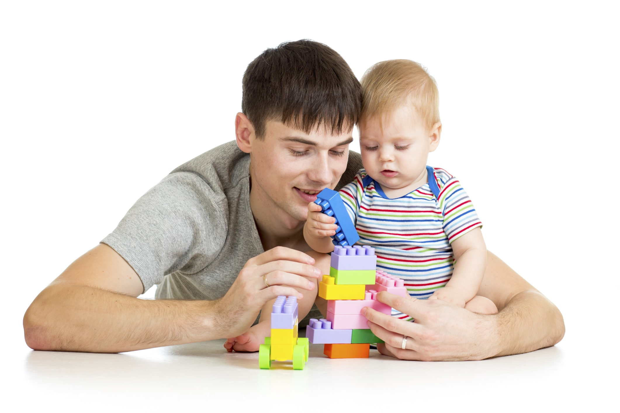 Picture of father and son playing