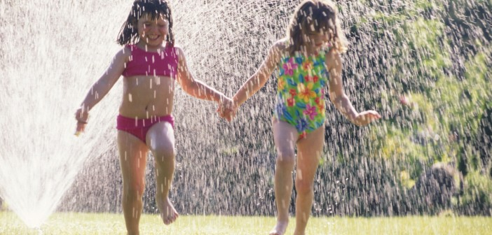 Picture of kids in a sprinkler
