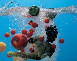 fruits and vegetables in clear water