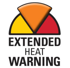 Half a pie shape with three slices. Yellow, orange and red. The yellow pie is pronounced with the words extended heat warning below