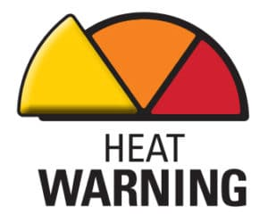 Half pie with three slices. One yellow, one orange and one red. The yellow is pronounced with the words heat warning below