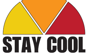 A half pie shape with three slices. Yello, orange and red with the words stay cool chatham-kent below