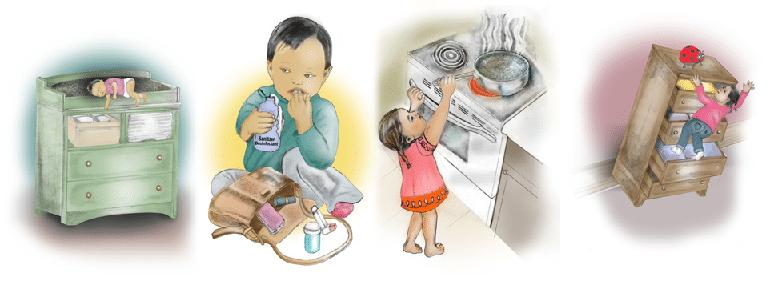 Illustration of preventing child injury