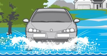 Illustration of car driving through flooded street
