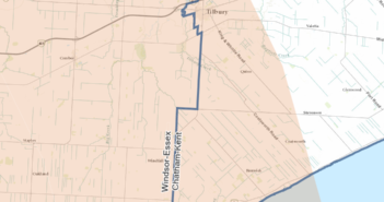 This is a map of the potential impact zone including part of Chatham Kent.