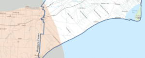 Image demonstrating that the Secondary Zone includes the western corner of Chatham Kent.