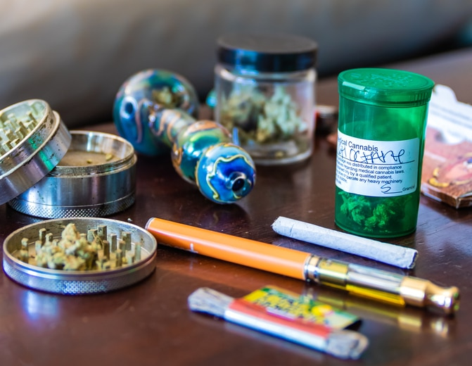 Image of cannabis and smoking accessories