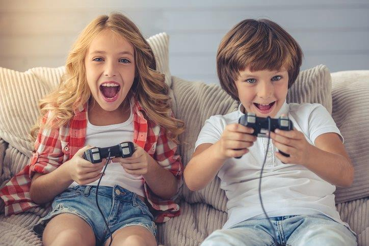 Picture of kids playing video games together