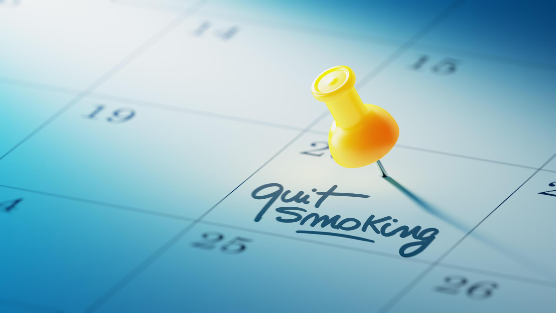 Quit smoking date on calendar