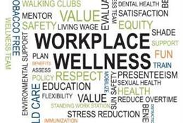 Image made up of multiple words, workplace wellness is the centre, with other positive values around it such as respect and equity