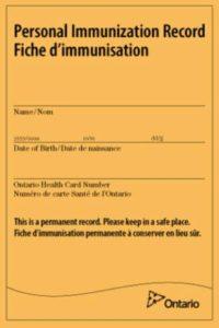 Yellow personal immunization record card