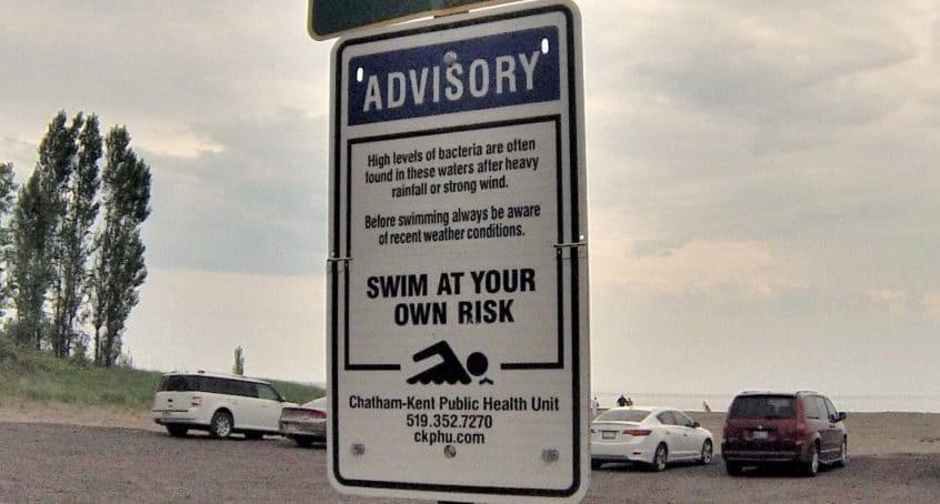 Beach Advisory Sign posted at Erieau Public Beach