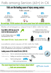 Falls among seniors infographic